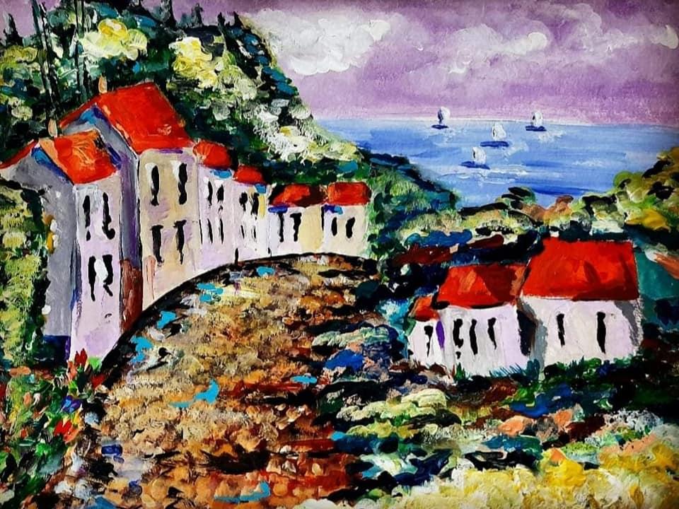 Paesaggio, acrilico su carta pressata 30x40, colori Maimeri, Orazio Mancuso